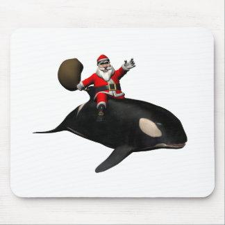 Montar a caballo de Papá Noel en orca Tapetes De Ratones