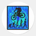 Montar a caballo del alma de la bici etiquetas redondas