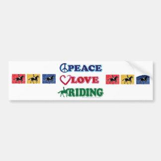 Montar a caballo del amor de la paz pegatina para auto