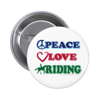 Montar a caballo del amor de la paz pin redondo 5 cm