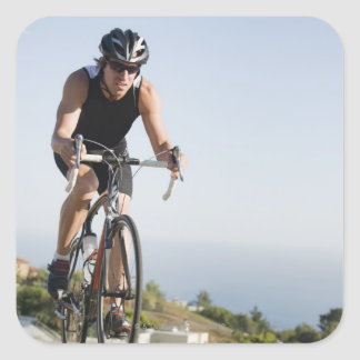 Montar a caballo del camino del ciclista en Malibu Calcomanías Cuadradases