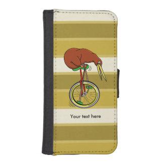 Montar a caballo del kiwi de Brown en un Unicycle Funda Tipo Billetera Para iPhone 5