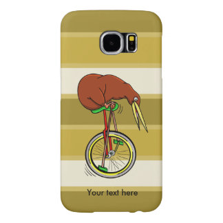 Montar a caballo del kiwi de Brown en un Unicycle Fundas Samsung Galaxy S6