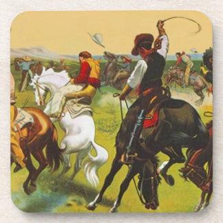 Montar a caballo del oeste salvaje el reventar de  posavasos
