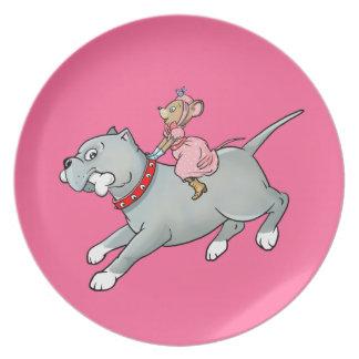 Montar a caballo del ratón en perro - modifique la plato de comida