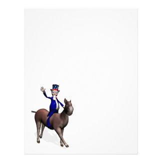 Montar a caballo del tío Sam en burro Plantilla De Membrete