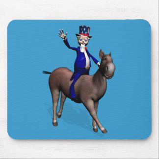 Montar a caballo del tío Sam en burro Tapetes De Raton