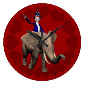 Montar a caballo del tío Sam en elefante Reloj Redondo Grande
