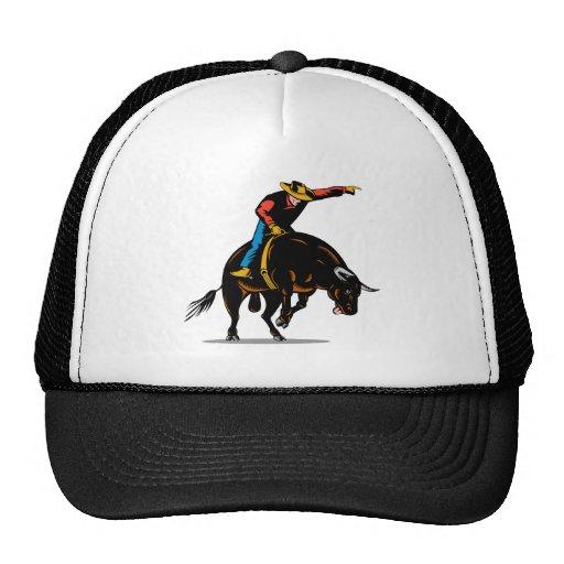 Montar a caballo del toro del vaquero del rodeo gorro