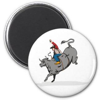 Montar a caballo del toro del vaquero del rodeo imanes