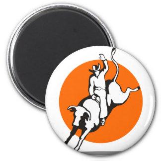 Montar a caballo del toro del vaquero del rodeo imanes para frigoríficos