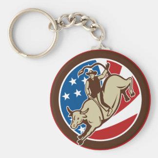 Montar a caballo del toro del vaquero del rodeo llavero personalizado