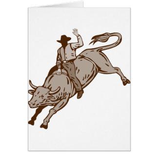 Montar a caballo del toro del vaquero del rodeo tarjeta de felicitación