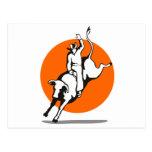 Montar a caballo del toro del vaquero del rodeo tarjeta postal