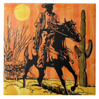 Montar a caballo del vaquero a caballo en desierto azulejo cuadrado grande