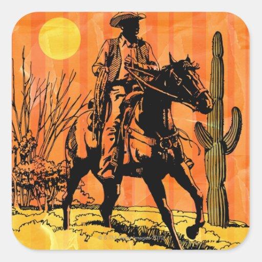 Montar a caballo del vaquero a caballo en desierto colcomanias cuadradases