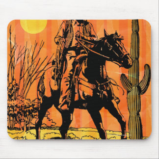 Montar a caballo del vaquero a caballo en desierto alfombrillas de ratones