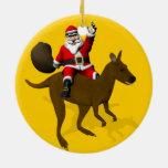 Montar a caballo divertido de Papá Noel en canguro Adorno Para Reyes