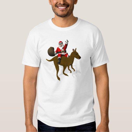 Montar a caballo divertido de Papá Noel en canguro Poleras