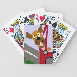 Montar a caballo divertido del perro del rescate e cartas de juego