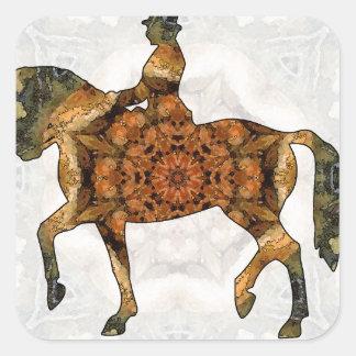 Montar a caballo - Dressage 03.jpg Pegatina Cuadrada