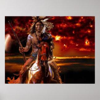 Montar a caballo indio del guerrero a través del f póster