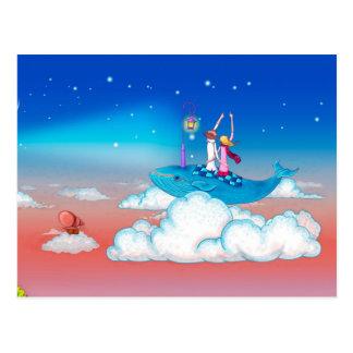 Montar a caballo joven del amor en el cielo tarjeta postal