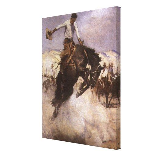 Montar a caballo ventoso por WHD Koerner, vaquero Lona Estirada Galerias