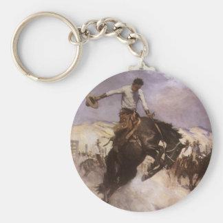 Montar a caballo ventoso por WHD Koerner, vaquero Llaveros Personalizados