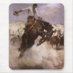 Montar a caballo ventoso por WHD Koerner, vaquero Tapetes De Ratones