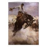 Montar a caballo ventoso por WHD Koerner, vaquero Tarjetón