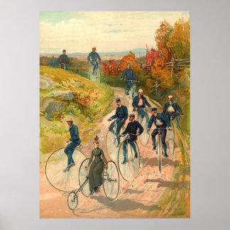 Montar en bicicleta 1887 póster