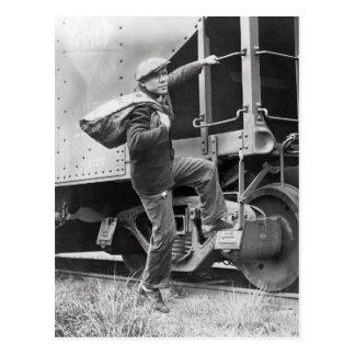 Montar los carriles, 1935 postal