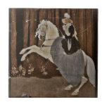 Montar un caballo en el bosque azulejo ceramica