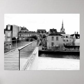 Montargis City black and white 01 Poster