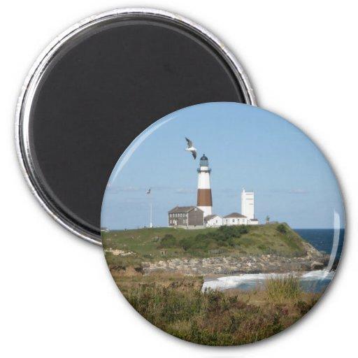 MONTAUK Lighthouse Seagull Love 2 Inch Round Magnet