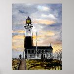 montauk point lighthouse new york painting art poster