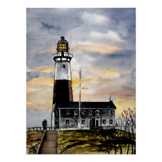 montauk point lighthouse new york painting art poster