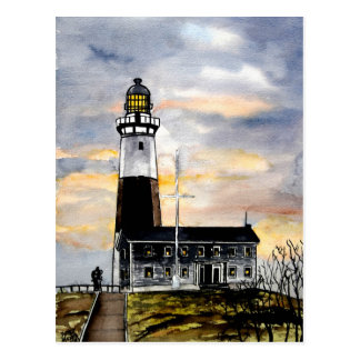 montauk point lighthouse new york post card