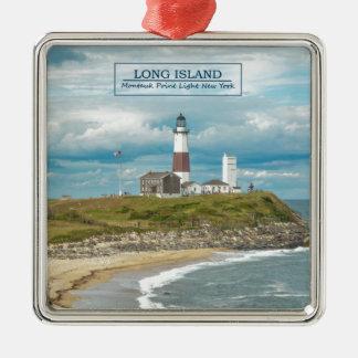 Montauk Point Lighthouse Square Metal Christmas Ornament