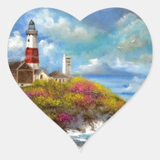 Montauk Point Lighthouse Heart Sticker