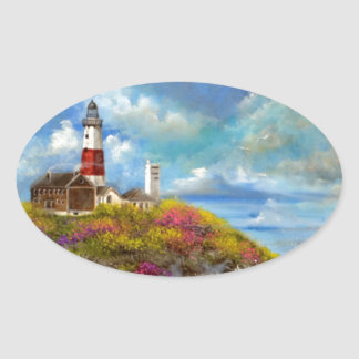Montauk Point Lighthouse Oval Sticker