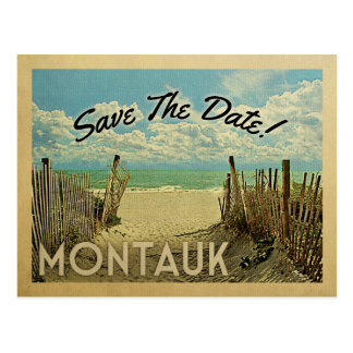 Montauk Save The Date Vintage Beach Nautical Postcard