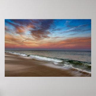 Montauk Seascape Beach Pink Sunset Poster