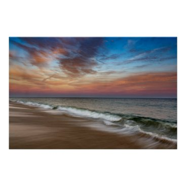 Beach Themed Montauk Seascape Beach Pink Sunset Poster