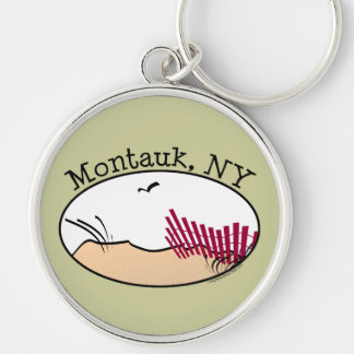 Montauk Silver-Colored Round Keychain