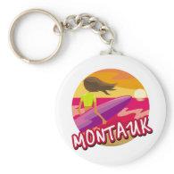 Montauk Surfer Female Keychain