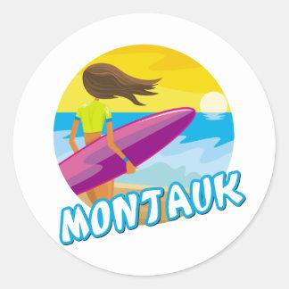 Montauk Surfing Classic Round Sticker