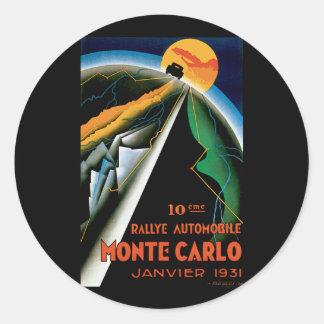 Monte Carlo Auto Rally ~ Vintage Automobile Ad Classic Round Sticker