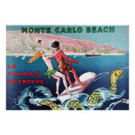 Monte Carlo Beach vintage poster Poster